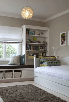 I love these ideas for book shelves and seating around a window but the vent is right under the window and can't cover it up