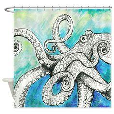 Wild Blue Octopus Shower Curtain on CafePress.com