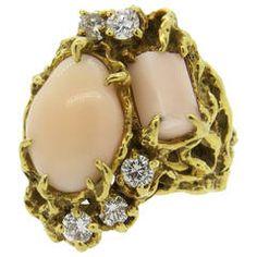 Arthur King Free Form Coral Gold Diamond Ring