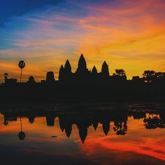 A mesmerizing display of colors over Angkor Wat, Siem Reap, Cambodia #travel