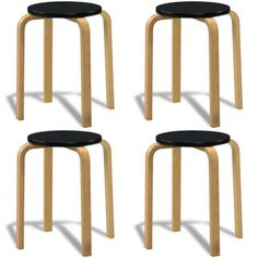 Kitchen Stools Wooden Modern Style Small Vintage House Patio Stool Set of 4 Seat Kitchen Stools, Bar Stools, Chair Bench, Home Furniture, Patio, Modern, House, Place, Home Decor