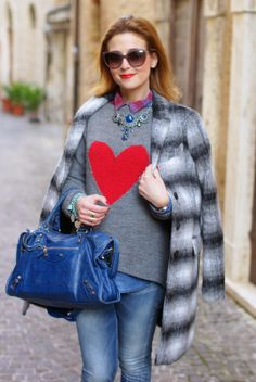 Zara checked coat, heart sweater, Balenciaga City cobalt blue, Fashion and Cookies, fashion blogger