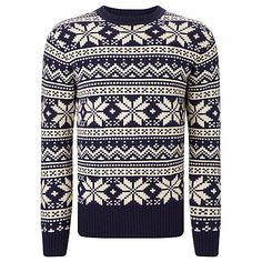 Buy Joules Fair Isle Festive Jumper, French Navy/White Online at johnlewis.com
