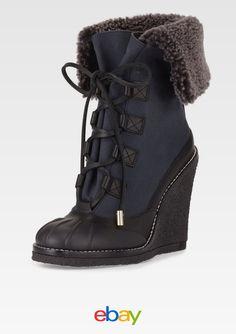 dc8f0622b6bb TORY BURCH SALE Fairfax Lamb Shearling Fur Wedge Duck Winter Boot Black  Blue 5 Black Lace