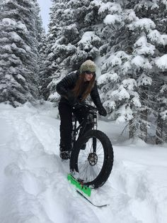 Powder trail riding with a BikeBoard to help pack the trail.