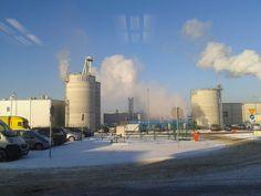 Zakład produkcji pelletów Lava i Olimp  zimową porą.