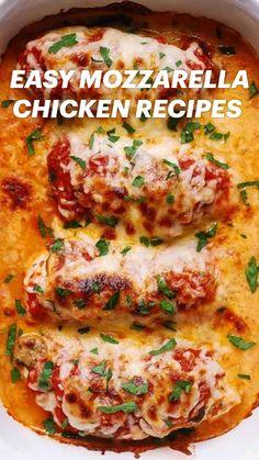 Easy Mozzarella Chicken Recipe, Chicken Parmesan Recipes, Easy Chicken Recipes, Recipes With Mozzarella, Recipes With Chicken Tenders, Stuffed Chicken Recipes, Chicken Fillet Recipes, Chicken And Cheese Recipes, Chicken Tenderloin Recipes
