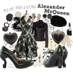 """this set feels a lot like Alexander McQueen"" by ovaryaction on Polyvore - dress by #ModCloth, shoes by #Fluevog"