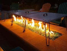 Heat deflector / reflector for gas fire pits. Keeps friends and family warm. Heat is pushed down and out instead of up in the air. Fire Pit Heat Deflector, Patio Heater, Gas Fires, Fire Pits, Decoration, Diy Projects, Outdoor Decor, Decor, Campfires