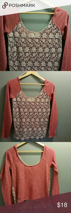 Free people shirt size s/p PRE OWNED Crochet front see through front solid back free people long sleeve shirt size s/p please ask question prior to purchase please review pic for more details Free People Tops Tees - Long Sleeve