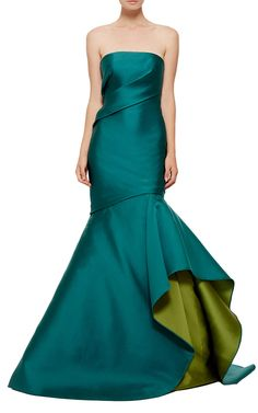 Monique Lhuillier Double Face Strapless Draped Gown - Preorder now on Moda Operandi