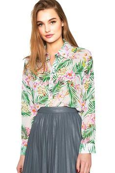 Tropical Plant #Print #Button Down #Shirt - OASAP.com 2015 Valentine Sale + FREE SHIPPING WORLDWIDE