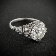 WOW! A fascinating and intricate rare antique engagement ring. Art Deco Engagement Ring. Circa 1915