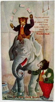 """The Roosevelt Bears trading card. """"The Cracker Jack Bears No. 11"""" The bears go to the circus."""