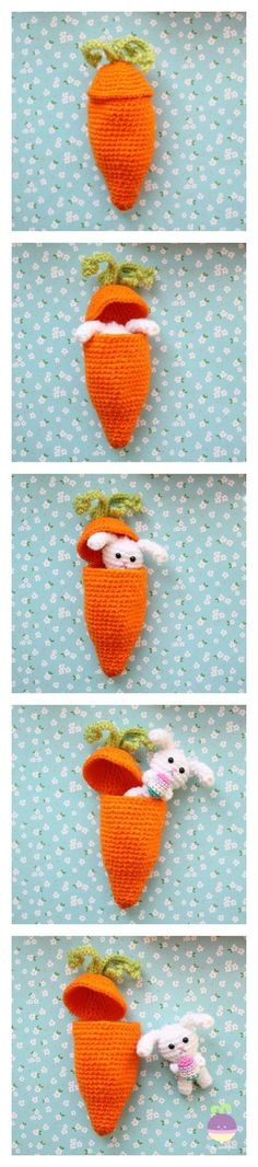 amigurumi food crochet free pattern animals patrones gratuitos patron gratis ganchillo crochet hook crochet food by KitRit Crochet Food, Crochet Bunny, Cute Crochet, Crochet For Kids, Crochet Dolls, Knit Crochet, Crochet Animals, Easter Crochet Patterns, Crochet Amigurumi Free Patterns