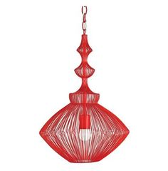 Parker Red Mid Century Modern Strung Steel Wire Pendant Light #kathykuohome