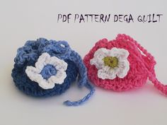 Crochet drawstring tiny gift bags pattern by Dega Quilt Tiny Gifts, Bag Patterns, Gift Bags, Crochet Hats, Quilts, Purses, Knitting Hats, Handbags, Little Gifts