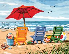 Beach Chair Trio Paint by Number Kit by Paintworks Dimensions