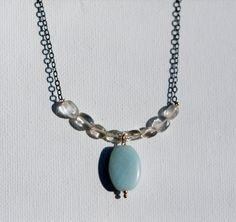 gunmetal thin chain choker necklace with quartz beads and mint green amazonite lozenge bead, minimal boho jewelry by MICETTESGARDEN on Etsy