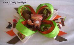 Fox Hair bow Girls Orange Green Woodland by CuteNCurlyBowtique, $6.50