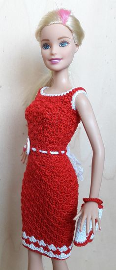 Doll Clothes - Barbie / Steffi Dress (crochet), red / white - a unique product by Anna-Tim on DaWanda