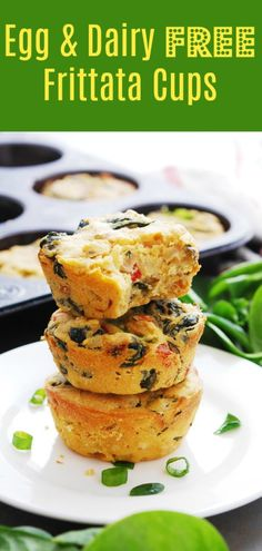 Egg-free & Dairy-free Frittata Cups - Yes, it can really be done! An egg-free and dairy-free frittata is possible! Thanks to some smart s - Egg Free Recipes, Allergy Free Recipes, Vegan Recipes, Milk Recipes, Dairy Free Quiche Recipes, Dairy Free Egg Casserole, Greek Recipes, Nutrition Sportive, Sport Nutrition