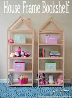 DIY House Frame Bookshelf Plans (Remodelaholic) DIY House Frame Bookshelf Plans Related posts: DIY Space Saving Bed Frame Design Free Plans Instructions DIY: Pallet Bookshelf Plans or Instructions Simple Bookshelf, Bookshelves Kids, Bookshelf Design, Bookshelf Diy, Bookshelf Dollhouse, Diy Bookcases, Baby Bedroom, Girls Bedroom, Bedroom Ideas