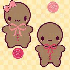 Gingerbread Men - Cute Ginderbread, Kawaii, Christmas Cookies Clip Art, Xmas Clipart, Gingerbread, Girl, Free Commercial and Personal Use