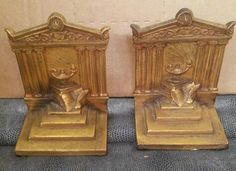 WEIDLICH METAL BOOKENDS 1920'S VINTAGE TEMPLE OF KNOWLEDGE