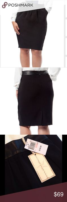 🎁New MYNT 1792 Black Pegged Pencil Skirt 14W Brand New pegged pencil skirt with faux leather waist is a wardrobe essential! It's a tailored shape for curvy girls...made of a unique blend of crepe and faux leather. 67% viscose. 30% elastane. 3% elastane.   Contrast fabric; 100% faux leather. Backing; 100% polyester. Lining; 100% polyester. Machine wash. 14W.  Classic style with an edge!  ( shown with Brand new Gloria Vanderbilt Color block blouse XLg) MYNT 1792 Skirts Pencil