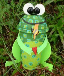 Recycle your plastic cup with this fun Eco Froggy Bank craft from favecrafts.com!