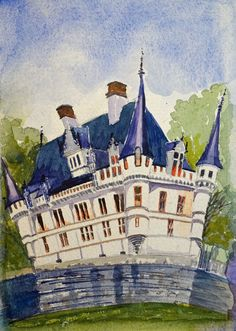 Peter Baker - A skewed perspective watercolour of the Chateau de Azay Le Rideau in the Loire Valley that I did following our holiday. Watercolour, Postcards, Perspective, My Arts, Holiday, Artwork, Painting, Pen And Wash, Watercolor Painting
