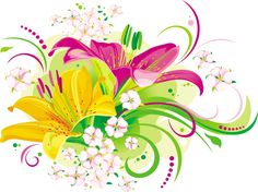 Vector Butterfly Lilies X And Little Flowers Wallpaper with 2900×2171