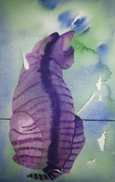 Purple cat by José Wichers Schreur aquarel