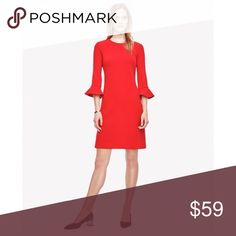 """Ann Taylor red fluted bell sleeve shift dress Jeweled neckline and 3/4 sleeves with feminine fluted ruffle hem. Darted at the bust. Textured crepe polyester with 4% spandex for a great fit. Great transition piece from work to a night out on the town! Fully lined, hidden back zipper. 16.5"""" across the owner arms, 32.5 inches total length. Ann Taylor Dresses Mini"""