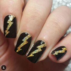 Lightning Bolt nail vinyls create an exciting nail design! Lightning Bolt Nail Stickers are perfect for the DIY nail artist and can be used as nail stencils. Red Acrylic Nails, Shellac Nails, Manicure, Pretty Nail Colors, Pretty Nails, Nail Design, Nail Art Designs, Lightning Nails, Nail Stencils