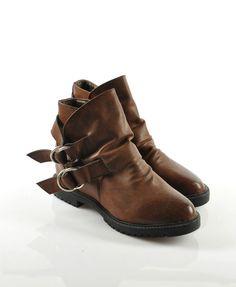 Dark Brown PU Boots with Hoop Buckle Detail