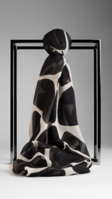 Animal Print Cashmere Silk Scarf