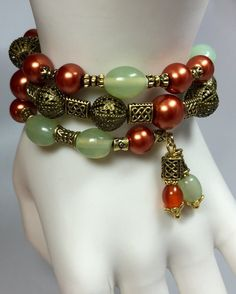Deep Copper & Pastel Green Wrap Bracelet TDC by TheaDesignConcepts