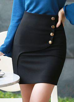 Gold Button Wrap Style Skirt, Styleonme