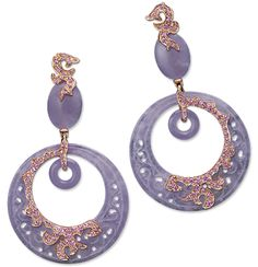 Cellini Jewelers  Lavender Jade Pendant Hoop Earrings  Lavender jade ring hoops, carved with a perforated scroll design, and embellished with gold and lavender sapphire pavé, in 18-karat rose gold.