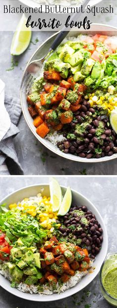 Blackened butternut squash burrito bowls are piled high with all the fixins' and a flavorful fresh mojo sauce for a healthy take on burrito bowls! Completely vegetarian AND vegan! Tasty Vegetarian Recipes, Healthy Recipes, Free Recipes, Easy Recipes, Butternut Squash Chili, Blackened Seasoning, Burrito Bowls, Stuffed Jalapeno Peppers, Salad Bowls