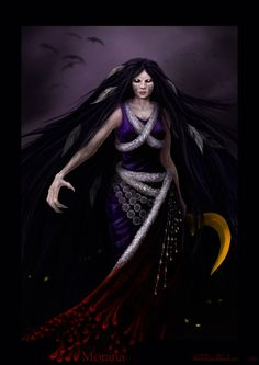 Marzanna- Slavic myth: the goddess of seasons, death, rebirth, nature, winter, and nightmares. she is the daughter of Perun.