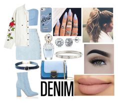 """All Denim,Head to Toe"" by emily5302 ❤ liked on Polyvore featuring Julien David, Balmain, Off-White, Gianvito Rossi, Skinnydip, Jimmy Choo, Marc Jacobs, WithChic, BERRICLE and Cartier"