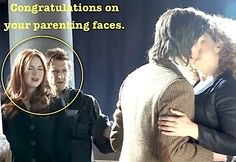 """Doctor Who faces of Parenting. Rory (Pond/Williams) is like """"Eeeww. Do you see what's happening, Amy?"""" """"No. The light is shining on my face. I can't see anything."""""""