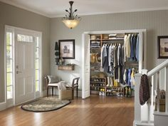 Hard-Working Foyer Closet There is storage space for everyone in the family in this foyer closet. A variety of shelves and rods provide an easy grab-and-go approach in this ClosetMaid system.