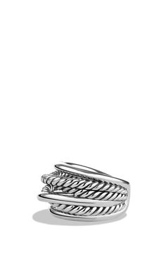 Crossover Narrow Ring by David Yurman at Neiman Marcus. Jewelry Rings, Jewelry Accessories, Fine Jewelry, Women Jewelry, Jewelry Design, Jewellery, Wide Rings, Rings Online, Ring Designs