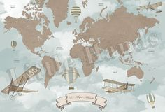Custom made vintage world map Check our links for more info! http://www.littlehandsillustration.com/ http://2littlehands.blogspot.pt/ http://littlehands-shop.com/ — with Little Hands Wallpaper Mural and 2 others.