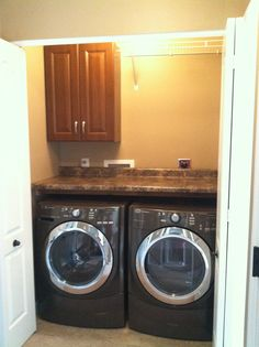 Just renovated our laundry closet!!! Such a practical and inexpensive DIY!