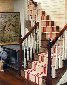 Red & natural striped stair runner by Colony Rug Company -- Photography by James K. Rug Company, Up House, Carpet Stairs, Woven Rug, Stairways, Decoration, Sweet Home, House Design, Inspiration